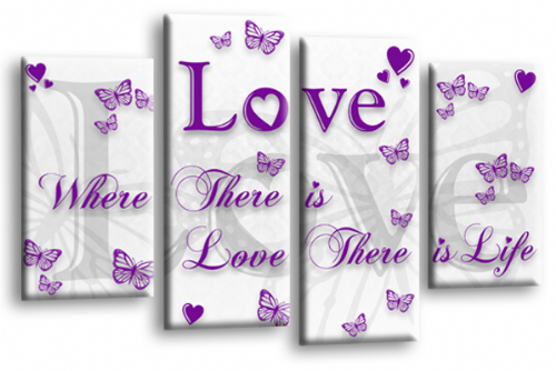 Love Quote Wall Art Print White Purple Family Picture